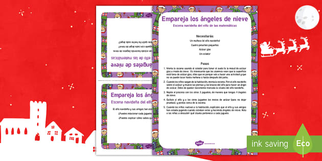 Escena matemática con el elfo navideño: Empareja los ángeles de nieve - numeros, problemas matemáticos, navidad, navideño, Spanish