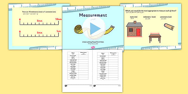Measurements Appropriate Measures PowerPoint with Activity Sheets Arabic Translation - arabic, measurements, powerpoint, measurements powerpoint, worksheets, measurement worksheets, maths