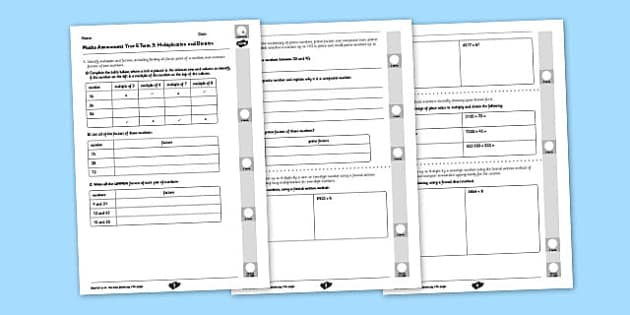 Year 5 Maths Assessment: Multiplication and Division Term 3 - Maths, Assessment, Number, Multiplication, Division