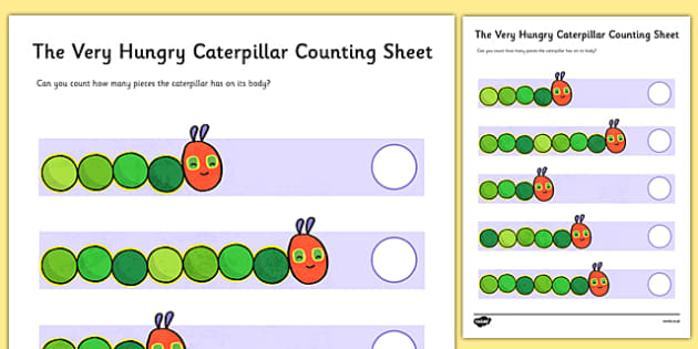Counting Sheet to Support Teaching on The Very Hungry Caterpillar - counting, numbers, the Very Hungry Caterpillar, Eric Carle, numbers, counting, numeracy booklet, resources, Hungry Caterpillar, life cycle of a butterfly, days of the week, food, fru