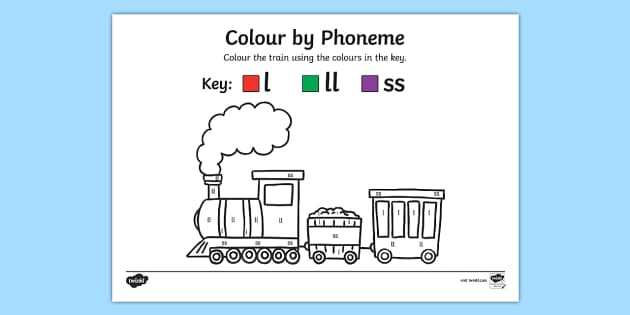 Colour by Phoneme Train Phase 2 l ll ss - colour, phonemes, train, phase 2, satpin