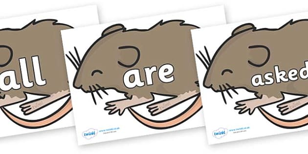 Tricky Words on Mice - Tricky words, DfES Letters and Sounds, Letters and sounds, display, words