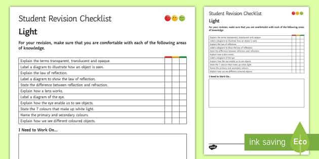 Light Student Revision Checklist - Student Progress Sheet (KS3), light, transparent, translucent, opaque, eye, lens