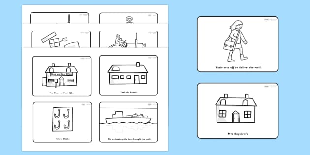 Story Sequencing (4 per A4) to Support Teaching on Katie Morag Delivers The Mail - Katie Morag, story sequencing, story resources, Mairi Hedderwick, story, scotland, scottish, book, resources, story book