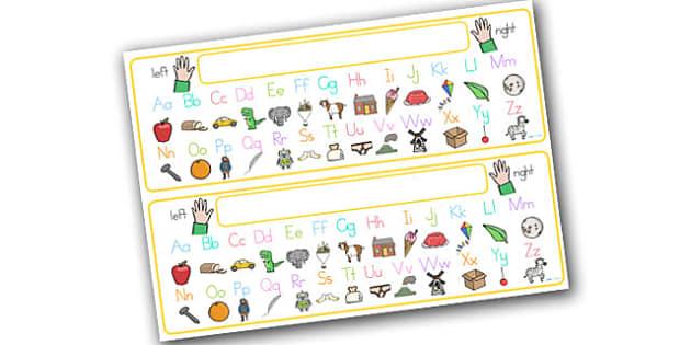 Alphabet Desk Strip With Pictures - alphabet, a-z, visual aids