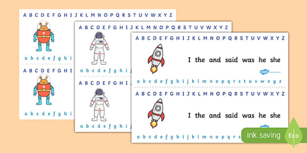 Alphabet Strips Space - alphabet, a-z, space, visual aid, letters
