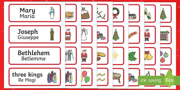 Christmas Topic Word Cards English/Italian - Christmas Topic Word Cards - Christmas, xmas, word card, flashcard, word cards, tree, advent, nativi