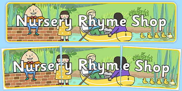 Nursery Rhyme Shop Role Play Banner - nursery rhyme shop, nursery rhyme, rhyme, banner, display
