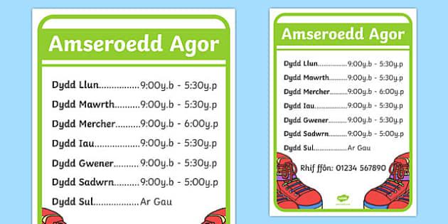 Amseroedd Agor y Siop Esgidiau - welsh, cymraeg, amser, amseroedd agor, siop esgidiau