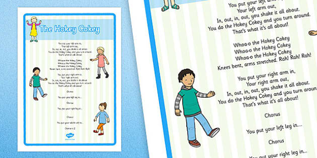 The Hokey Cokey Song Large Display Poster - Physical development, eyfs, movement, songs, rhyme
