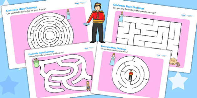 Cinderella Differentiated Maze Activity Sheet Pack - traditional tale, worksheet