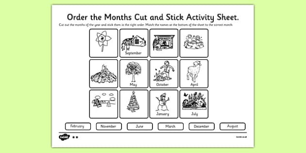 Months of the Year Cut and Stick Activity Sheet months year – Months of the Year Worksheet