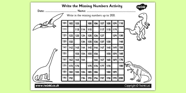 Dinosaurs Themed Missing Numbers Number Square 100-200 - numbers