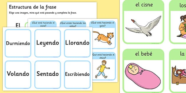 Tarjetas de describir dibujos - frase, pregunta, acción, responder, describir