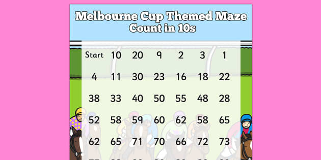 The Melbourne Cup Counting in 10s Maze Worksheet - australia, melbourne cup, maze