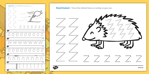 Autumn Themed Pencil Control Sheets - pencil control worksheet, autumn, pencil control, autumn pencil control worksheet, autumn pencil control