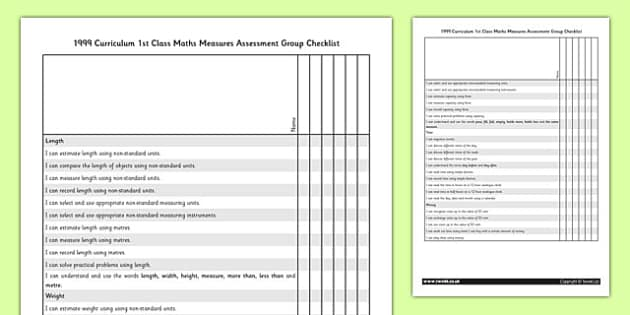 1999 Curriculum 1st Class Maths Measures Assessment Targets Group Checklist - roi, irish, republic of ireland
