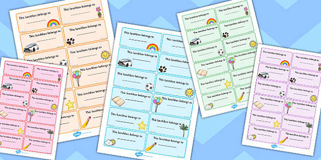 Editable Mixed Theme Lunchbox Labels - lunch, food, drink, tags