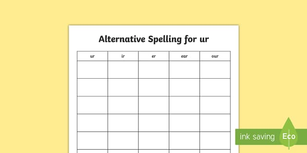 Alternative Spellings for ur Table Worksheet - alternative spellings for ur, table worksheet pack, table worksheet, ur worksheet