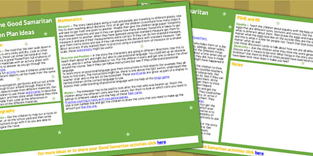 The Good Samaritan Lesson Plan Ideas KS1 - lesson plan, KS1, RE
