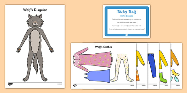 Wolf's Disguise Busy Bag Prompt Card and Resource Pack - EYFS, big bad wolf, wolf, little red riding hood, clothes
