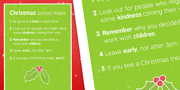 Christmas School Rules Display Poster - christmas, school rules, display poster, display, poster