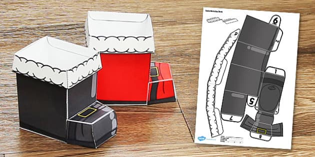 Christmas Saint Nicholas Boot Paper Model - christmas, saint nicholas, boot, paper model