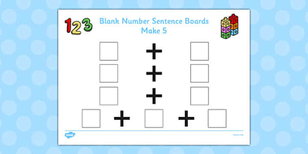 Blank Number Sentence Boards to 10 Make 5 - sentence boards