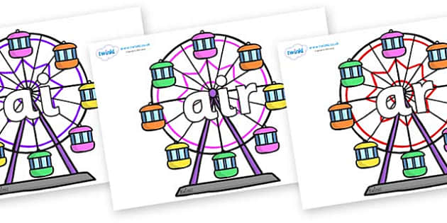 Phase 3 Phonemes on Ferris Wheels - Phonemes, phoneme, Phase 3, Phase three, Foundation, Literacy, Letters and Sounds, DfES, display