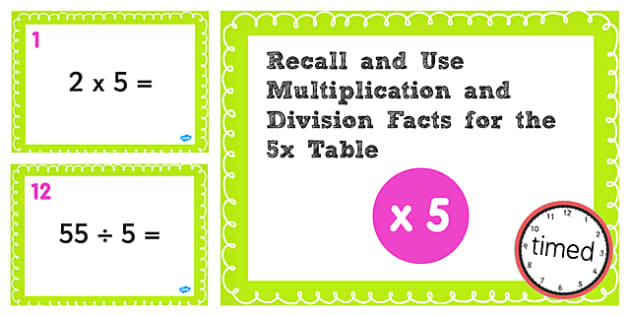 Multiplication Division Facts for 5 Times Table PowerPoint Test