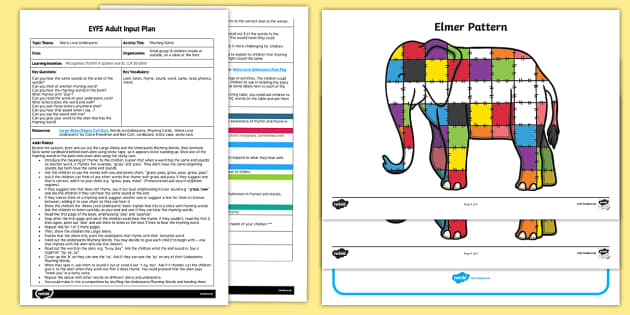EYFS Patchwork Patterns Adult Input Plan and Resource Pack - Elmer, David McKee, colour, patterns, maths, mathematics, shape space measure,