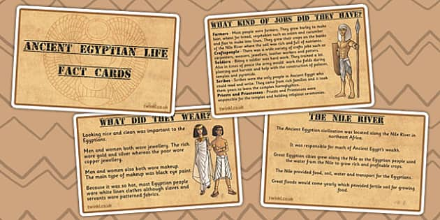 Ancient Egyptian Life Display Fact Cards - egypt, ancient egypt