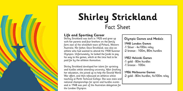Australian Olympic Athletes Fact Sheet Shirley Strickland - Australia, Olympic Games, Olympics, Paralympics, Athletes, Information, Fact Sheet, Reading Comprehension, Year 6 History