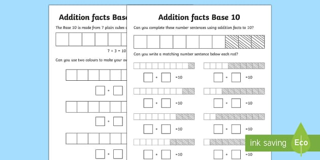 Addition Fact Base 10 Activity Sheet - kindy, kindergarten