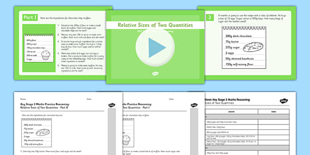 KS2 Reasoning Test Practice Relative Sizes of Two Quantities Resource Pack - KS2, Key Stage 2, Reasoning, ratio