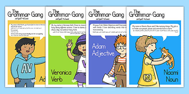 Grammar Gang Character Display Posters Arabic Translation - arabic, grammar game, character, display
