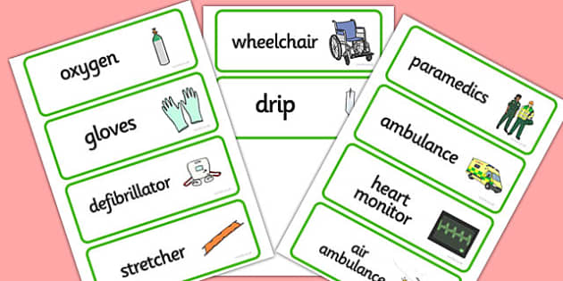 Paramedics Word Cards - Paramedics Role Play, paramedic, paramedic resources, ambulance, ambulance man, emergency, accident, injury, people who help us, role play, display, poster, Word cards, Word Card, flashcard, flashcards,