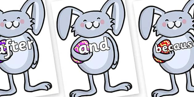 Connectives on Easter Bunny Rabbit - Connectives, VCOP, connective resources, connectives display words, connective displays