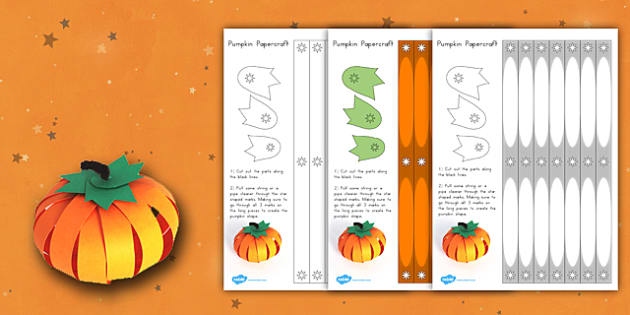 Paper Pumpkin Craft - scissors, models, nature, halloween, model, design, art, making, fun, display