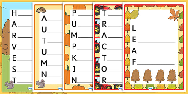 Harvest and Autumn Acrostic Poems - harvest, autumn, season, acrostic poem, poems, poetry, poem templates, writing templates, writing aid, writing frame