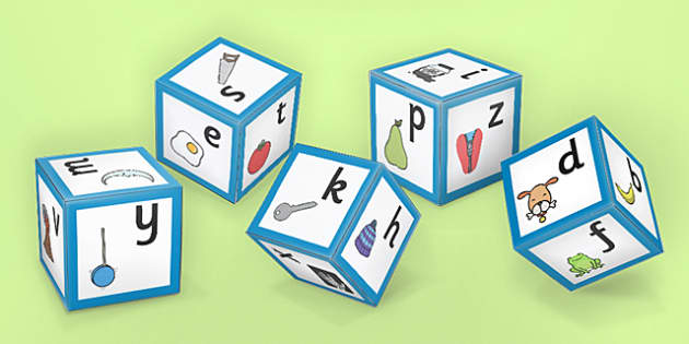 Alphabet Sounds with Images Dice Nets - phase one, sounds