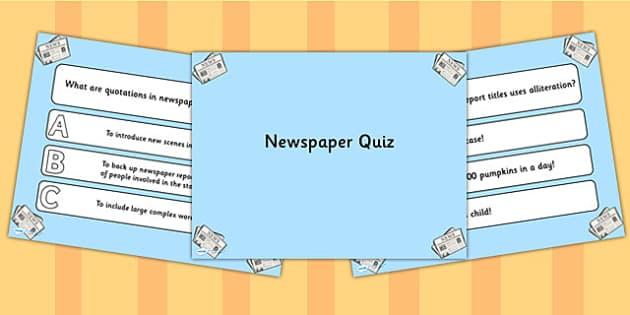 Newspaper Writing PowerPoint Quiz - newspaper, powerpoint, quiz