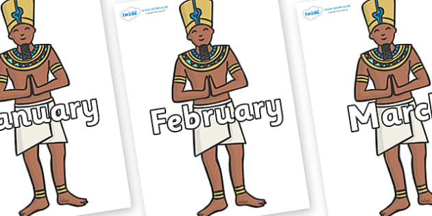 Months of the Year on Egyptian Priests - Months of the Year, Months poster, Months display, display, poster, frieze, Months, month, January, February, March, April, May, June, July, August, September