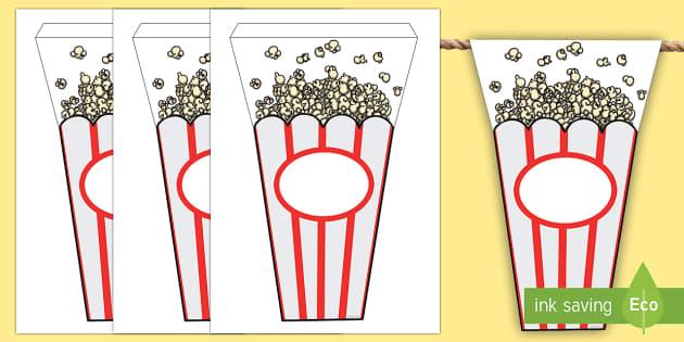 Movie Popcorn Themed Display Bunting - classroom, display, movie, film, cinema, theatre, star, popcorn, snack