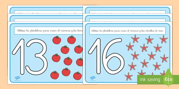 Tapices de plastilina: Los números 11-20