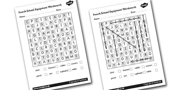 French School Equipment Wordsearch - French, School, Wordsearch