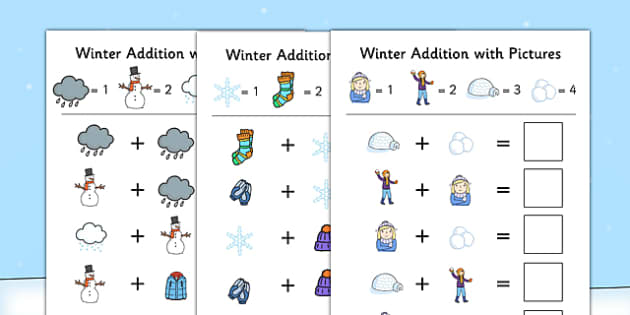 Winter Themed Addition with Pictures Activity Sheet Pack - winter, themed, addition, pictures, activity, sheet, worksheet