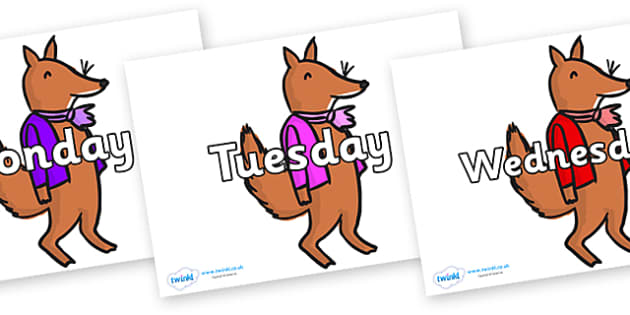 Days of the Week on Small Fox 2 to Support Teaching on Fantastic Mr Fox - Days of the Week, Weeks poster, week, display, poster, frieze, Days, Day, Monday, Tuesday, Wednesday, Thursday, Friday, Saturday, Sunday