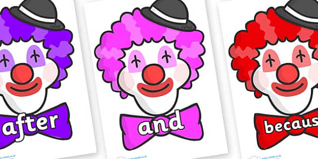 Connectives on Clown Faces - Connectives, VCOP, connective resources, connectives display words, connective displays