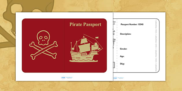 Pirate Passport - pirates, writing frame, writing template, write